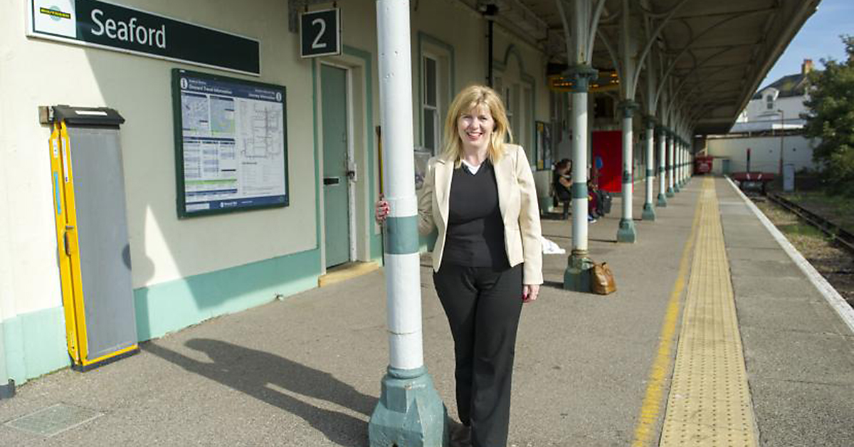 Maria Caulfield at Seaford Station